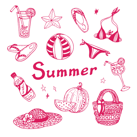 Summer vacation doodle set. Vector hand drawn illustration on white background for your design.