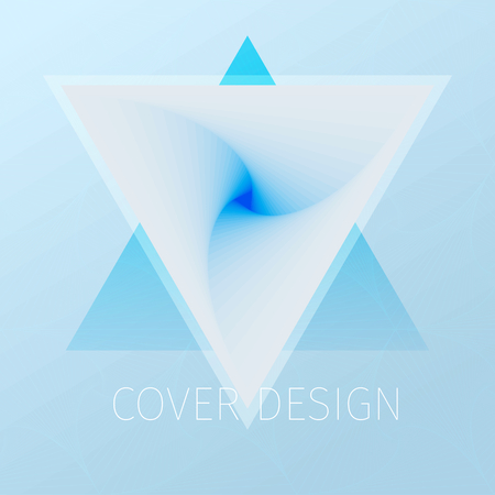 Triangle spiral. Vector optical illusion abstract background in blue pastel colors.