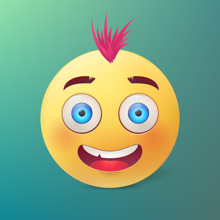 Vector yellow ball with happy smiling face and pink hair. Stok Fotoğraf - 76335966