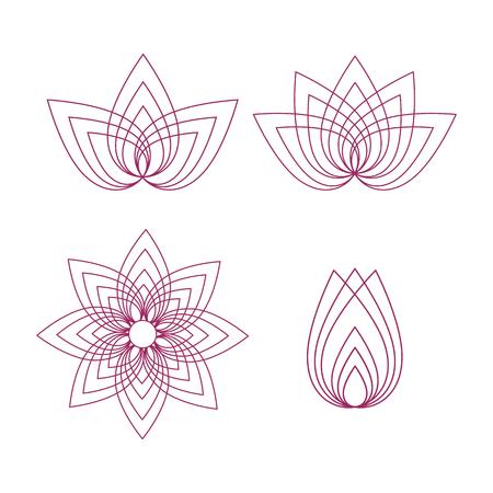 A Vector lotus flower outline set on white background. Stok Fotoğraf - 76466394