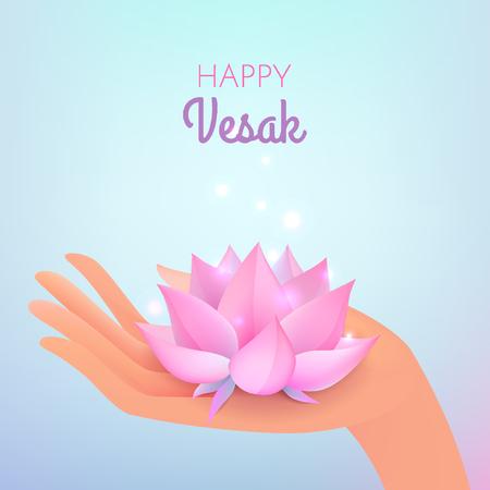 Vesak のカード。ベクトル パステル青の背景にエレガントな手と蓮の花のイラスト。
