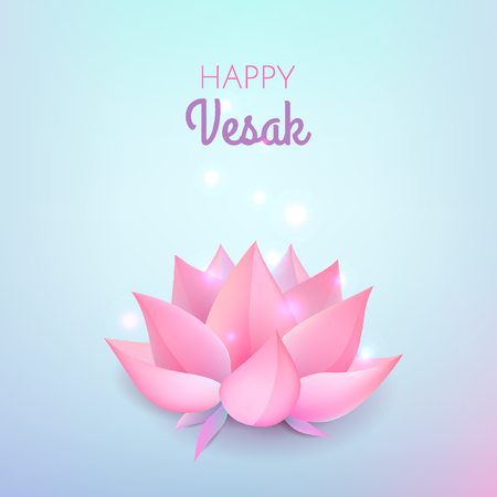 Pink lotus flower on pastel blue background. Vector illustration card for Vesak day on pastel blue background.