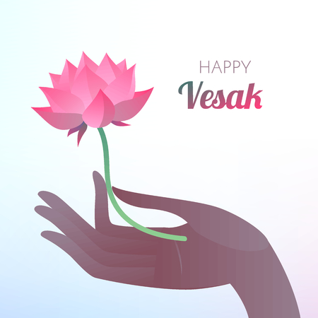 Buddha Purnima or Vesak card. Vector illustration with elegant dark hand holding lotus flower on light background. Stok Fotoğraf - 77149758