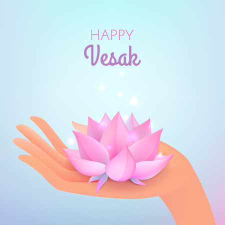 Vesak card. Vector illustration with elegant hand and lotus flower on pastel blue background.
