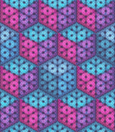 Vector seamless pattern. Isometric cubes made of hexagon particles. Stok Fotoğraf - 76968504