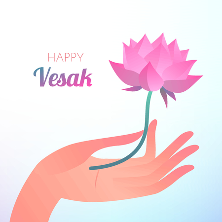 Buddha Purnima or Vesak card. Vector illustration with elegant hand holding lotus flower