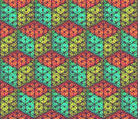Vector seamless pattern. Background with isometric cubes made of hexagon particles. In green, red and blue colors. Stok Fotoğraf - 76774383