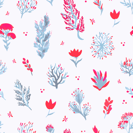 Vector hand drawn seamless pattern. Plants in red and blue colors on white background. For textile, scrapbooking, backdrop, etc. Stok Fotoğraf - 80499229