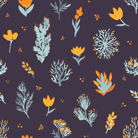 Floral vector seamless pattern. Wildflowers and plants on dark background. The elegant template for fashion prints, backdrop, wrap etc. Stok Fotoğraf - 80499235