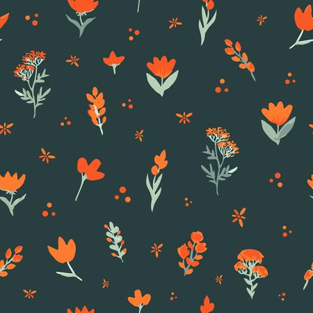 Floral vector seamless pattern. Orange wildflowers on dark background. The elegant template for fashion prints, backdrop, wrap etc. Stok Fotoğraf - 80499234