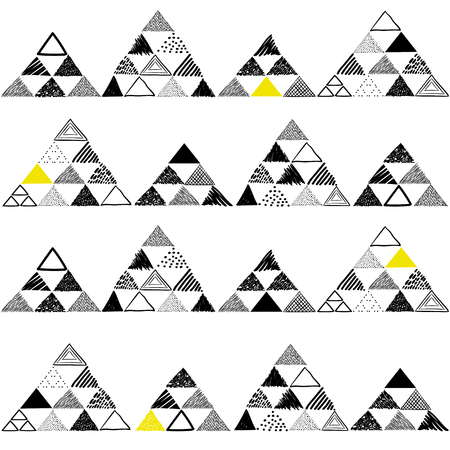 Vector seamless pattern with hand drawn triangles on white background. Can be used for textile, wallpaper, wrapping paper, web Stok Fotoğraf - 80553064