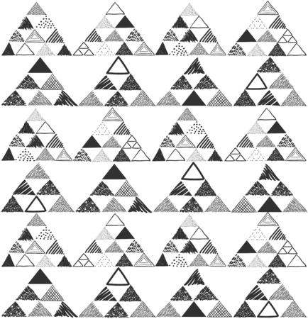 ethno: Vector seamless pattern with black hand drawn pyramids on white background. Can be used for textile, wrapping paper, web