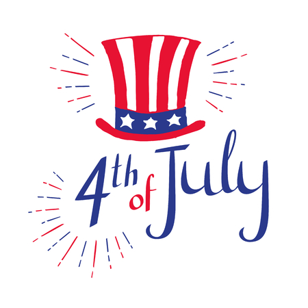 4th of July. Hand drawn Independence day card with lettering for your design. Uncle Sam hat. Vector illustration on white background. Stok Fotoğraf - 80753922