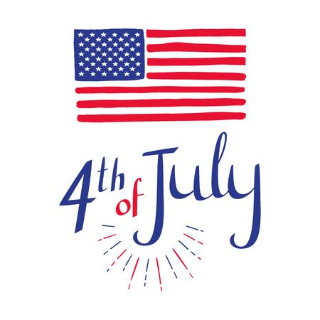 4th of July. Hand drawn Independence day card with lettering for your design. American flag. Vector illustration on white background. Stok Fotoğraf - 80705217