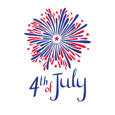 Vector 4th of july illustration. American Independence day. Firework and lettering in flags colors on white background.