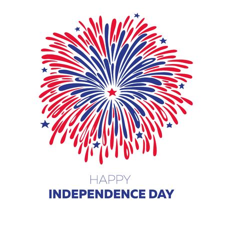 白い背景の上の 7 月 4 日のベクトルの花火。アメリカ独立記念日のイラスト。