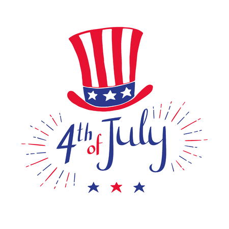 4th of July - Independence day celebration card. Vector hand drawn illustration with hat in flag's color on white background. Stok Fotoğraf - 80788450