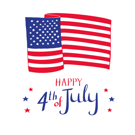 Happy 4th of July card. Hand drawn American flag and stars on white background. Stok Fotoğraf - 80788456