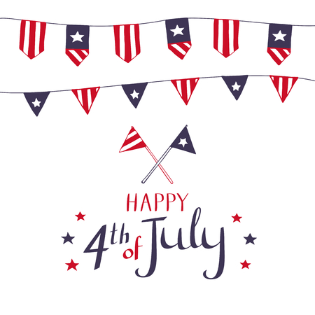 Vector card design for 4th of July. Buntings in flag symbolics. Decorated illustration for American Independence Day celebration on white background. Illustration