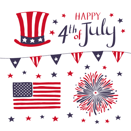 Set of Patriotic elements for celebrating 4th of July. hand drawn American Independence Day vector objects on white background. Illustration