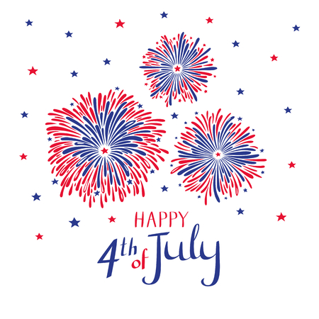 Vector hand drawn fireworks for 4th of july. American independence day card on white background.