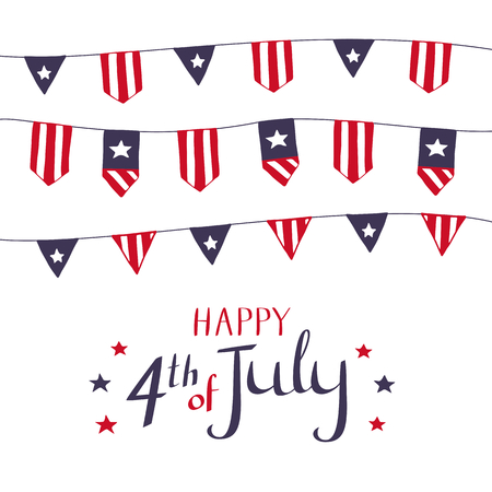 Card design for 4th of July. Buntings in flag symbolics. Vector hand drawn illustration for American Independence Day celebration on white background. Stok Fotoğraf - 80888518