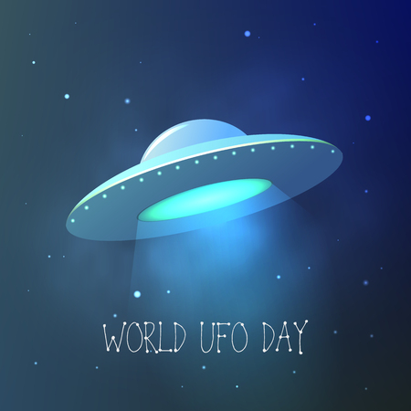 World UFO Day. Flying saucer in space. Vector card. Stok Fotoğraf - 80826147