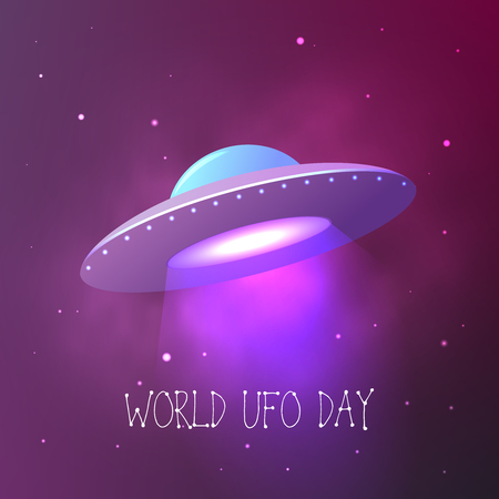 World UFO Day. Flying saucer in space. Vector card. Stok Fotoğraf - 80854348