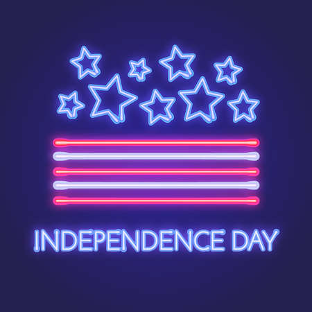Vector neon sign board for Independence day of America. Illustratio for yur design. Stok Fotoğraf - 81037916