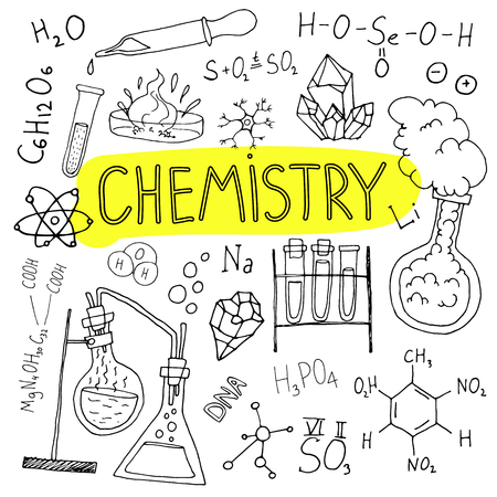 Chemistry hand drawn background. Set of science doodles. Back to school illustration. Stok Fotoğraf - 84600086