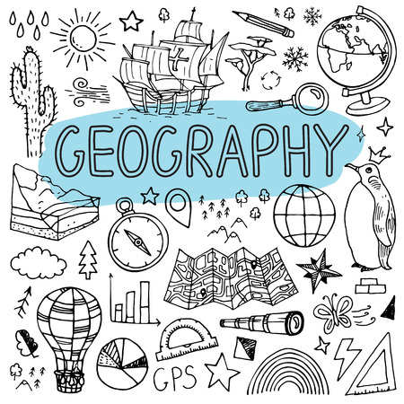 Geography hand drawn doodles. Vector back to school illustration on white background. Stok Fotoğraf - 84802758
