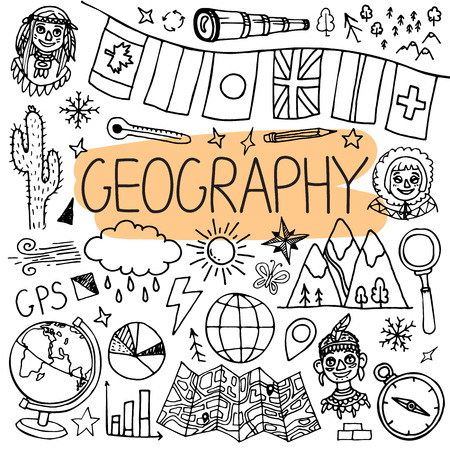 Hand drawn doodles for geography lessons. Vector back to school illustration on white background. Illustration