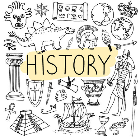 History hand drawn doodles. Vector back to school illustration on white background. Stok Fotoğraf - 84802760