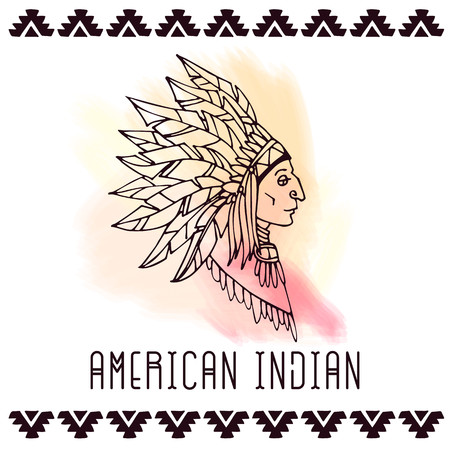 American indian in war bonnets. Lineart vector illustration. Ilustração