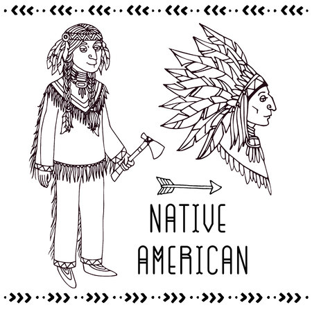 Native American set. Vector line illustration on white background.