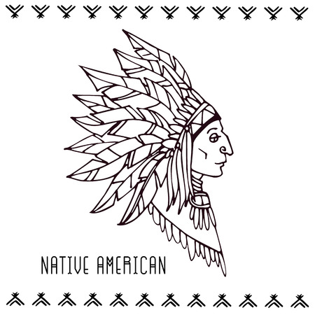 American indian in war bonnets. Linear vector illustration on white background. Stok Fotoğraf - 84920457