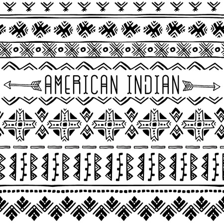 Set of Native American seamless borders. Geometric ornament. Tribal background texture. Vector boho illustration on white background.