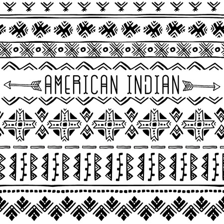 Set of Native American seamless borders. Geometric ornament. Tribal background texture. Vector boho illustration on white background. Stok Fotoğraf - 84992684