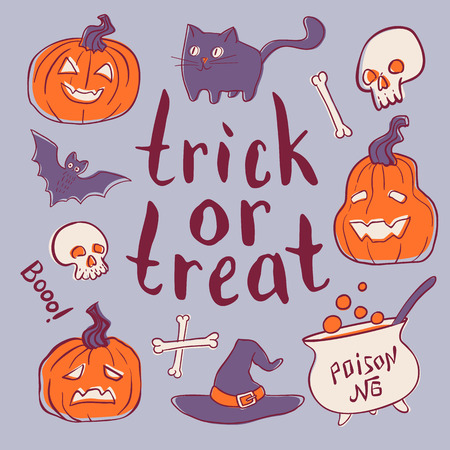 Trick or treat hand drawn elements set. Vector illustration. Holiday poster or greeting card. Stok Fotoğraf - 86202592