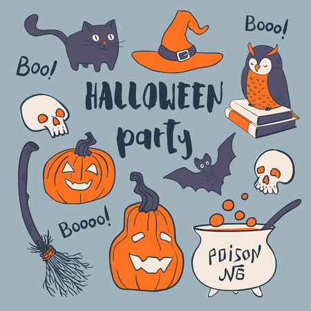 Halloween party set. Vector hand drawn greeting card. Design elements. Çizim
