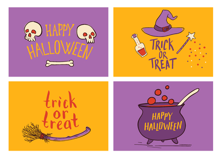 Vector Halloween greeting card set. Hand drawn traditional symbols and handwritten lettering. Vector invintations.