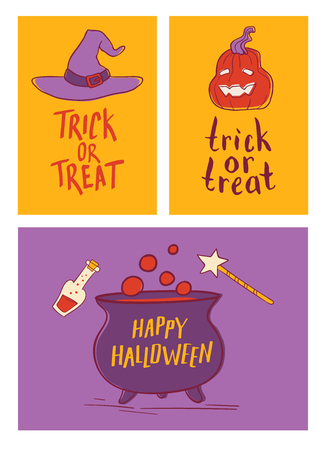 Vector set. Collection of cartoon Halloween cards with lettering. Cute Halloween traditional decoration elements.