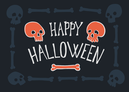 Happy Halloween Poster or greeting card. Vector hand drawn illustration with lettering.