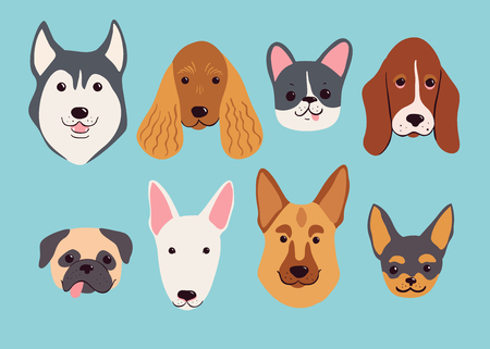 Hand drawn dog breeds set. Funny vector illustration.
