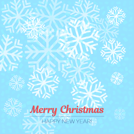 Blue and white background with snowflakes. Vector illustration for Christmas and New Year.