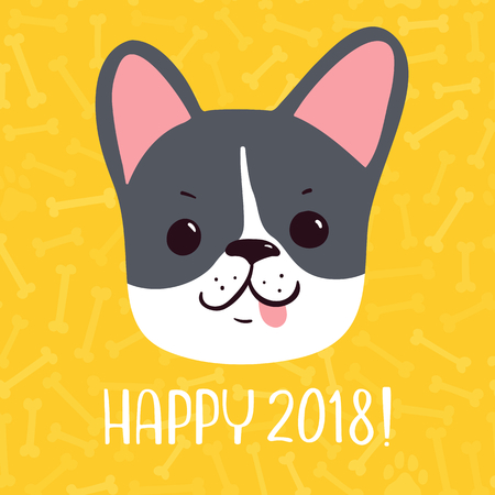 Happy 2018 Vector New Year greeting card.