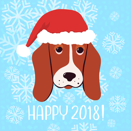 Happy 2018 Vector New Year greeting card with dog in christmas hat on blue background. Çizim