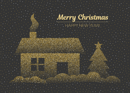 Merry Christmas and happy New Year greeting card in golden colors. Vector horizontal illustration on dark background. Stok Fotoğraf