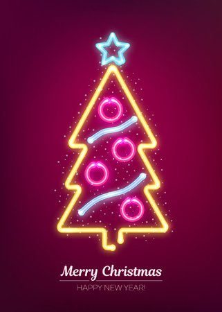 Neon Xmas and happy New Year signboard. Vector illustration with glowing christmas tree.