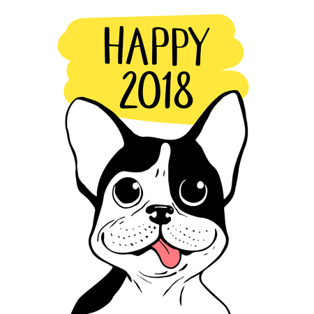 Happy 2018 vector illustration with Boston Terrier. Chinese New Year hand drawn card. Stok Fotoğraf - 87876502
